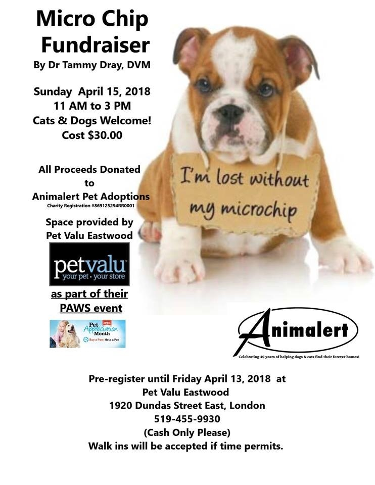 Animalert's Microchip Fundraiser by Dr. Tammy Dray ~ Sunday April 15, 2018