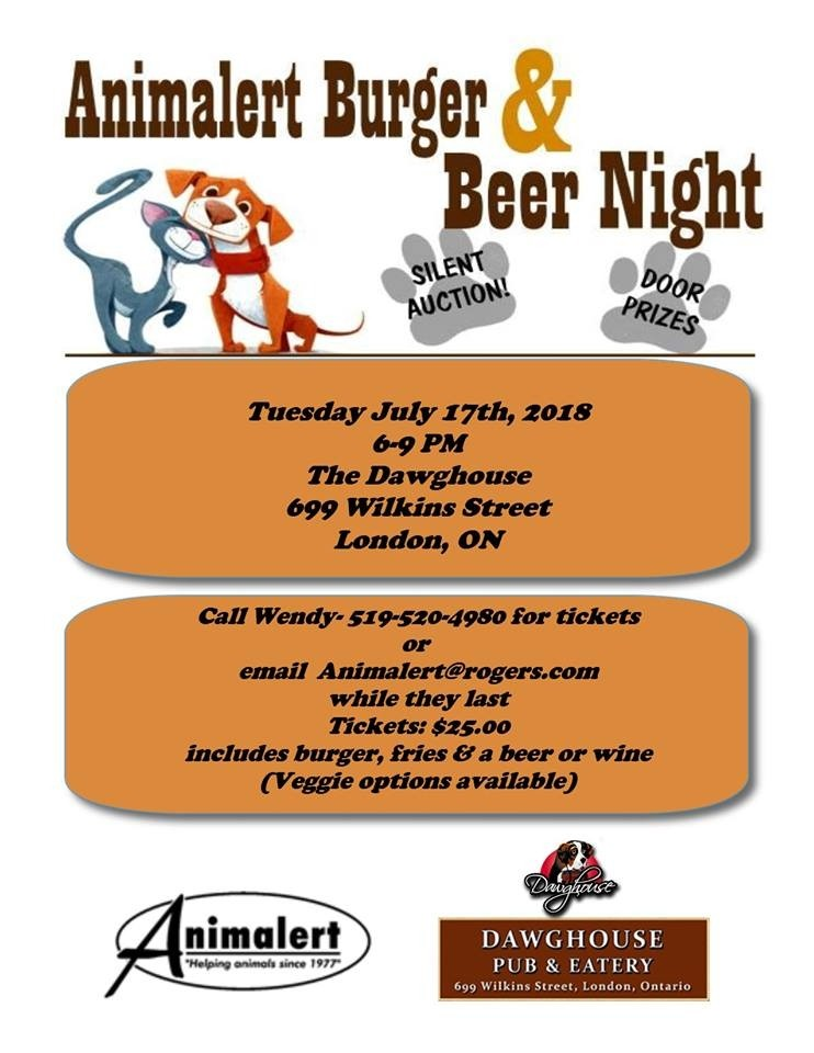 Animalert's Burger & Beer Night July 17, 2018