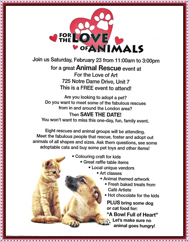For the Love of Animals, February 23, 2019 @ For the Love of Art, 725 Notre Dame Drive, Unit 7, London, ON