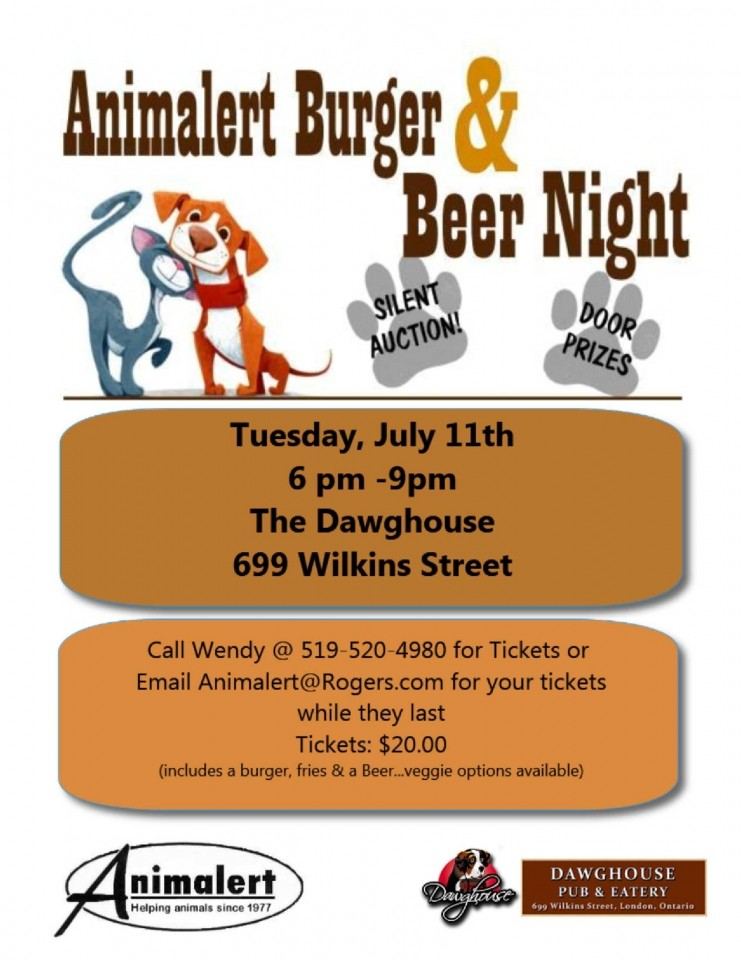 (July 11th) Animalert's Beer N Burger Night
